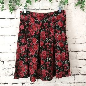 Downeast Floral Pleated Skirt M